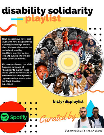 "[ID Yellow & white background with a CD with a collage of Black artists. To the left of the cd there is a black box with the top two paragraphs of this post. At the bottom is an image of the curators Dustin Gibson, a Black light skinned man and Talila ""TL"" Lewis, a Black genderfluid person.]"